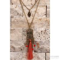 Morvizyon Eskitme Metal Zincir Kırmızı Püskül Detaylı Uzun Bayan Kolye