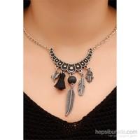 Morvizyon Gümüş Kaplama Zincir Tasarımlı Siyah Püskül Ve Yaprak Figürlü Bayan Kolye