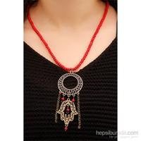 Morvizyon Fatma Ana Eli Figürlü Kırmızı Boncuklu Uzun Tasarımlı Bayan Kolye Modeli
