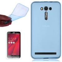 Gpack Asus Zenfone 2 Kılıf 0.2Mm Mavi Silikon + Cam