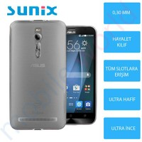 Sunix Asus Zenfone 2 Ultra İnce Silikon Kapak Füme