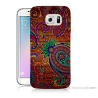 Teknomeg Samsung Galaxy S6 Edge Kapak Kılıf Çiçek Deseni Baskılı Silikon