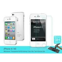 Microsonic Apple İphone 4 / 4S Transparent Kılıf & Film Tam Koruma Set