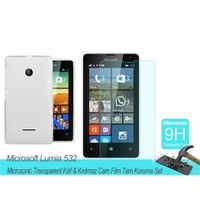 Microsonic Microsoft Lumia 532 Transparent Kılıf & Film Tam Koruma Set