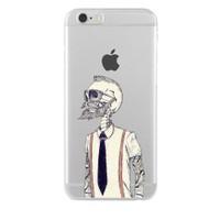 Remeto iPhone 6/6S Sakallı İskelet Apple Şeffaf Silikon Resimli Kılıf