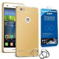 Teleplus Huawei P8 Lite Aynalı Metal Kapak Kılıf Gold + Cam Ekran Koruyucu