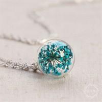 Güven Altın Yaşayan Kolyeler Kristal Cam Kurutulmuş Çiçekler Yk155