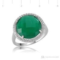 Gumush 925 Zirkon Taşlı Yonca Yeşili Gümüş Yüzük LR0479370