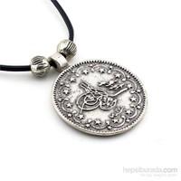 Solfera Antik Gümüş Renk Osmanlı Tuğra Erkek Kolye