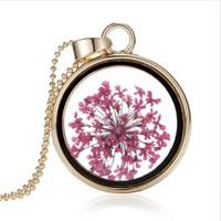 Güven Altın Yaşayan Kolye Kristal Cam İçinde Kurutulmuş Çiçekler Yk44