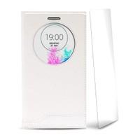 Volpawer Lg G4 Stylus Pencereli Kılıf + Ekran Koruyucu Beyaz