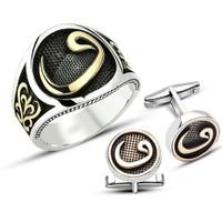 Tesbihane 925 Ayar Gümüş Vav Harfli Yüzük - Kol Düğmesi Kombini