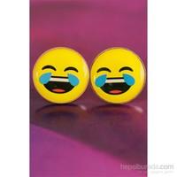 Morvizyon Emoji Tasarımlı Kahkaha Atan Yüz İfadeli Sarı Yuvarlak Bayan Küpe Modeli