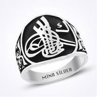 Mina Silver Osmanlı Tuğralı Siyah Renk Taşsız Gümüş Erkek Yüzük