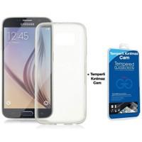 Teleplus Samsung Galaxy S6 Silikon Kılıf Şeffaf + Cam Ekran Koruyucu