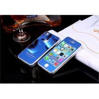 Teleplus İphone 4 Renkli Cam Ekran Koruyucu Ön + Arka Cam Ekran Koruyucu Mavi