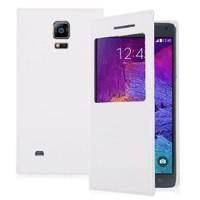 Microsonic Samsung Galaxy Note 4 View Cover Delux Kapaklı Kılıf Beyaz - CS150-V-DLX-GLX-NOTE4-BYZ