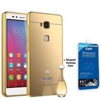 Teleplus Huawei Gr5 Aynalı Kılıf Kapak Gold + Cam Ekran Koruyucu