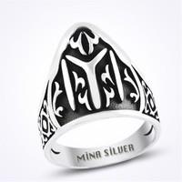Mina Silver Kayı Boyu Okçu Zihgir Okçu Taşsız Gümüş Erkek Yüzük