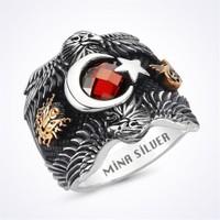 Mina Silver Çift Kartal Ayyıldız Gümüş Taşlı Gümüş Erkek Yüzük