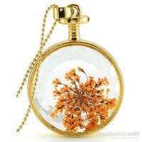 Güven Altın Yaşayan Kolye Kristal Cam İçinde Kurutulmuş Çiçekler Yk57