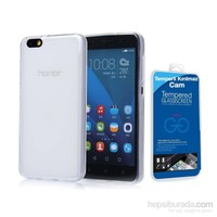 Teleplus Huawei Y5c Silikon Kılıf Şeffaf + Temperli Cam Ekran Koruyucu Cam Ekran Koruyucu