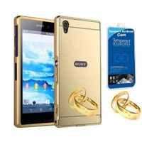 Teleplus Sony Xperia Z3 Compact Aynalı Metal Kapak Kılıf Gold + Cam Ekran Koruyucu