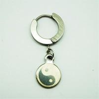 Gümüş Rengi Ying Yang Erkek Halka Çelik Küpe