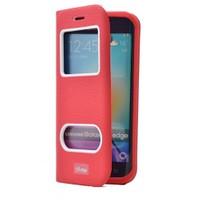 Teleplus Samsung Galaxy S6 Edge Özel Çift Pencereli Kılıf Kırmızı