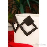 Morvizyon Siyah Mat Tasarım Dörtgen Formlu Bayan Küpe