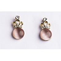 Betico Fashion Pembe Opal Kristal Taşlı Küpe