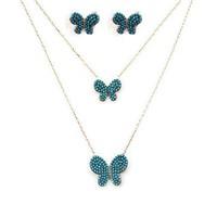 Beyazıt Takı İkili Kelebek Kolye Küpe Kombini