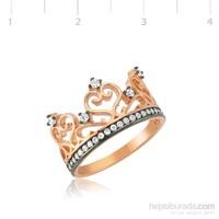 Gumush 925 Rose Kraliçe Tacı Gümüş Yüzük