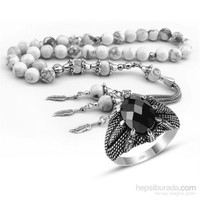 Tesbihane Özel Kamçılı Havlit Doğaltaş Tesbih Ve Gümüş Kartal Pençesi Yüzük Kombini