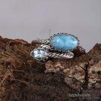 Sanal Kuyumculuk 925 Ayar Gümüş Larimar, Blue Topaz Taş Ayarlanabilir Yüzük