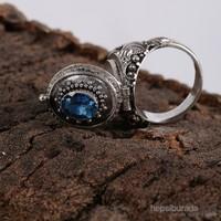 Sanal Kuyumculuk 925 Ayar Gümüş Blue Topaz Taş 14 Numara Yüzük