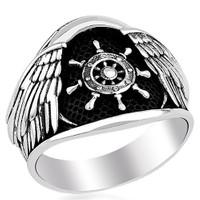 Tesbihevim Dümen Simgeli Denizci Erkek Gümüş Yüzüğü