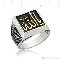 Tekbir Silver 925 Ya Allah Yazılı Tatar Ramazan Gümüş Erkek Yüzük MR2350047