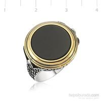 Tekbir Silver 925 Onix Lale Desenli Gümüş Yüzük