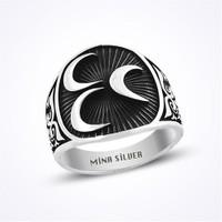 Mina Silver Üç Hilal Siyah Taşsız Gümüş Erkek Yüzük