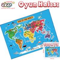 Akar Oyuncak Oyun Halısı Dünya 100 x 75 cm