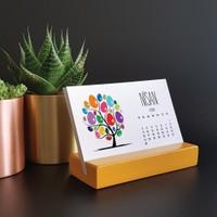 Bi'aldım Mevsim Ağaç Yatay Tasarımlı Masa Takvimi 2018 - Sarı