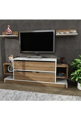 Dekorister Magic Tv Ünitesi - Tv Sehpası Beyaz-Ceviz