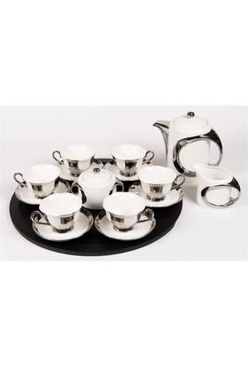 I Love Home Siyah Tepsili Çay Seti