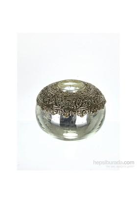 Lucky Art Gümüş Cam Tealight 13 Cm