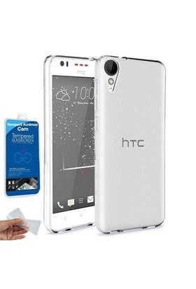 Teleplus Htc Desire 825 Tam Korumalı Silikon Kılıf Şeffaf + Cam Ekran Koruyucu