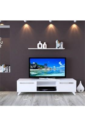 Eyibil Mobilya Aleyna 160 cm Parlak Beyaz Tv Sehpası Tv Ünitesi Duvar Raflı