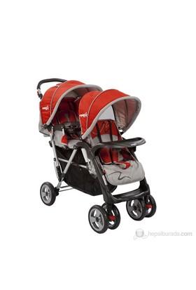 Crystal Baby 234 Armoni İkiz Bebek Arabası / Kırmızı