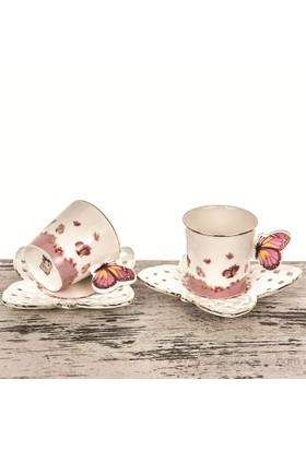 Mukko Home 2 Kişilik Lüks Porselen Kelebek Fincan Takımı - Pembe