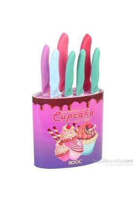 Rooc Mor Cupcake Desenli 8 Parça Bıçak Seti Cpp02